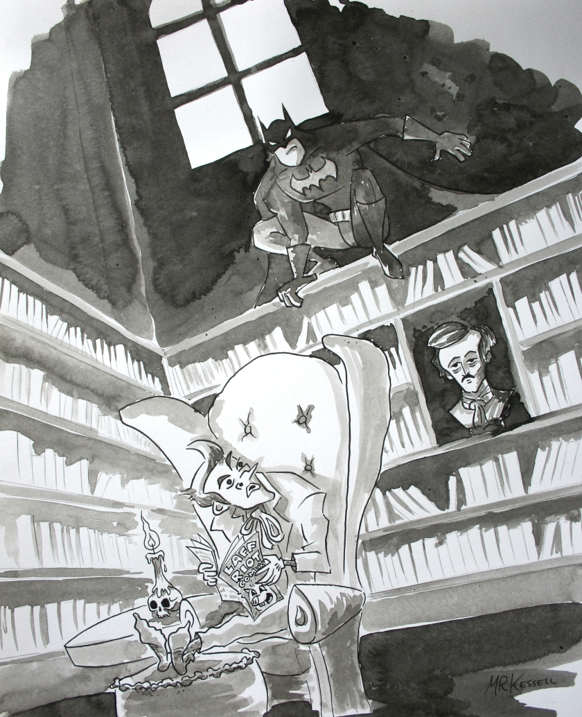 Batman and Joker in an Edgar Allen Poe style setting ink illustration by mr kessell