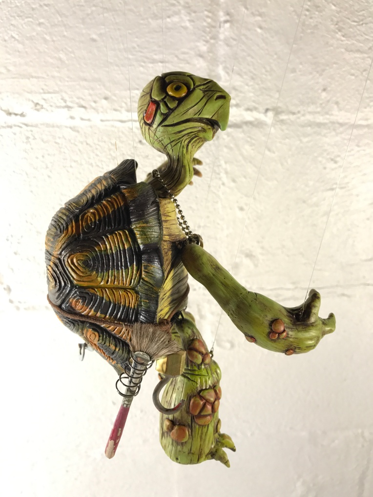 Marionette Turtle polymer clay sculpture finished by mike Kessell