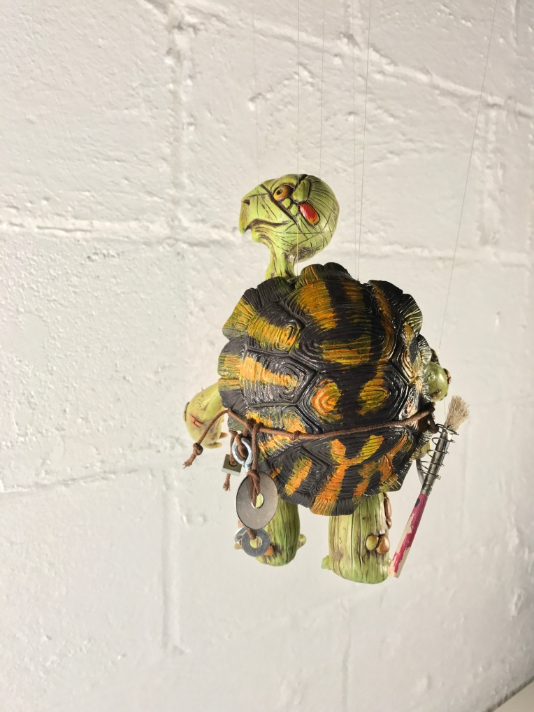 Marionette Turtle polymer clay sculpture finished by mrkessell
