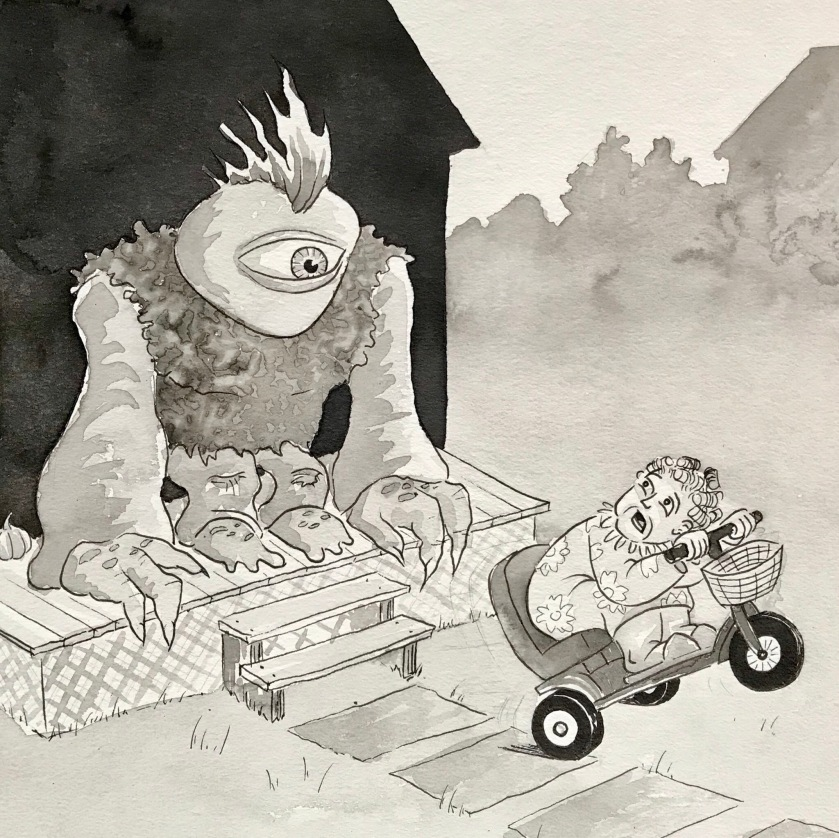 Cyclops monster scaring grandma on scooter ink drawing by mrkessell