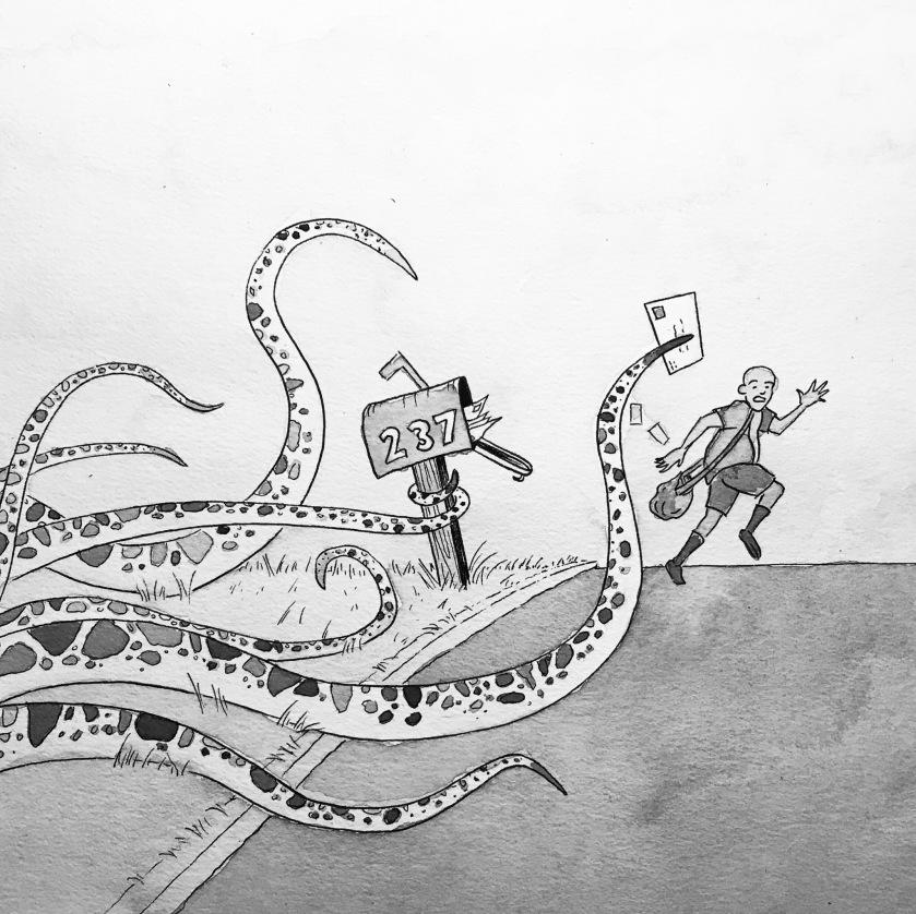 Tentacles mailman ink drawing mrkessell
