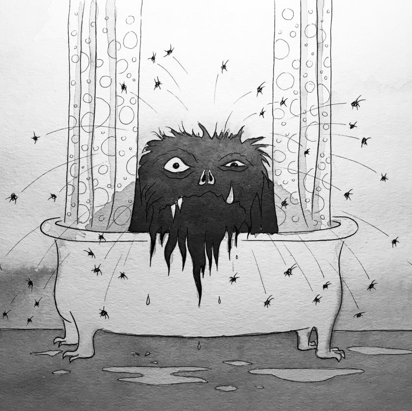 Fur all monster critters bathtub ink watercolor mrkessell