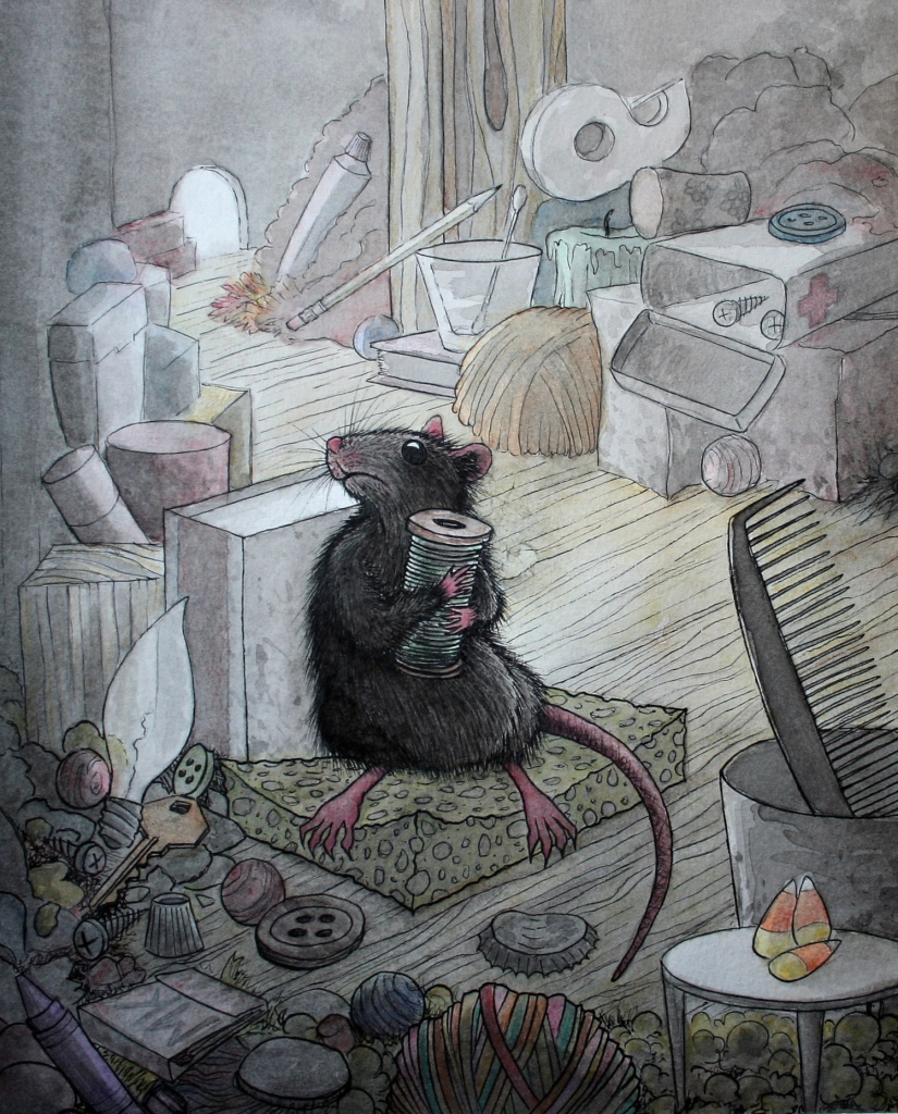 Pack rat hoarding treasure pen and watercolor illustration by m. r. Kessell