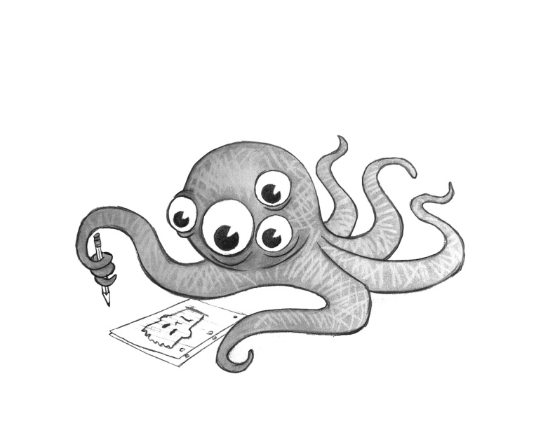 Octo monster kid doodling with pencil