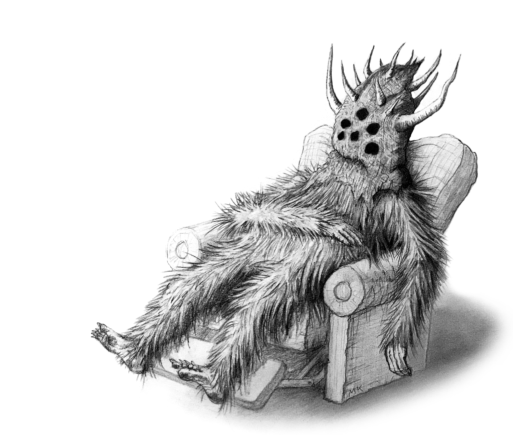 wild man creature sitting back in recliner pencil sketch