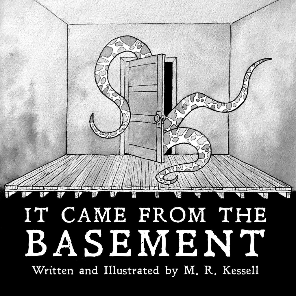 It Came from the Basement book cover depicting tentacled monster emerging from basement door.