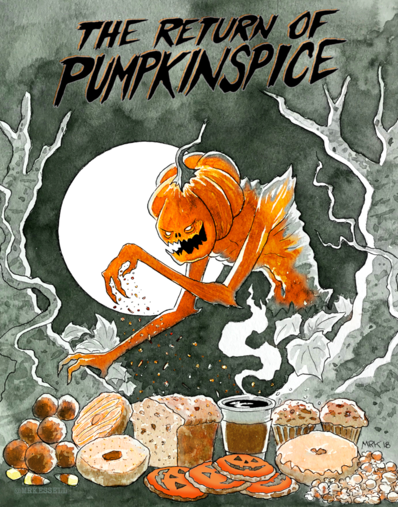 pumpkinspice monster ink watercolor art