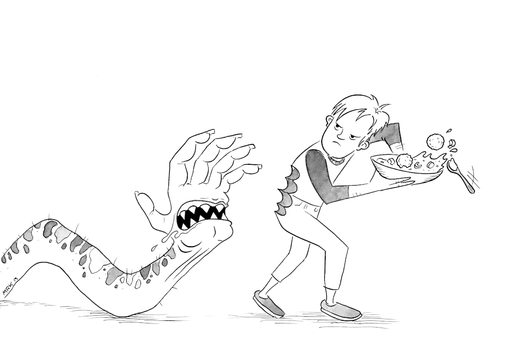 Monster snake-like hand with teeth chasing a man who is saving a bowl of matzo ball soup