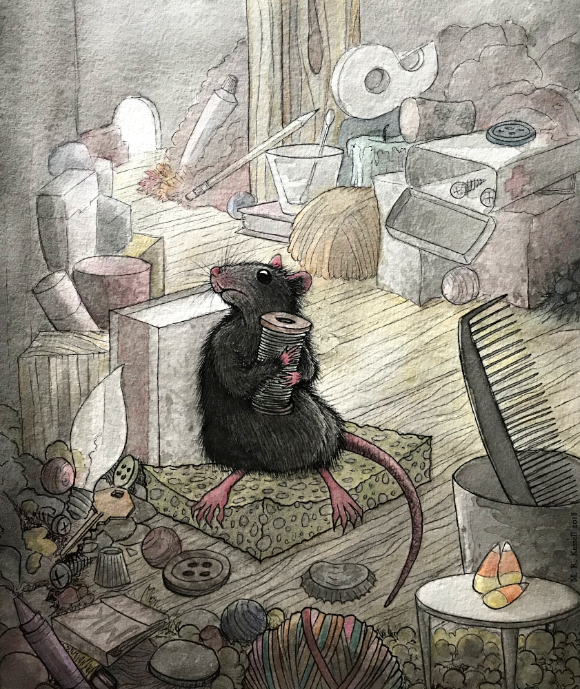A rat protectively holds a spool of thread in his hideout full of junk