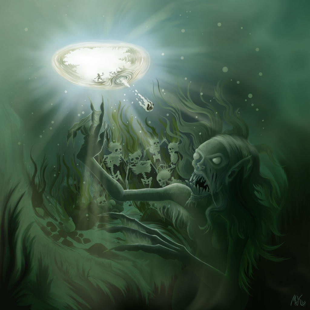Jenny Greenteetth wakes up from her slumber as a child tosses a stone into her murky pond.