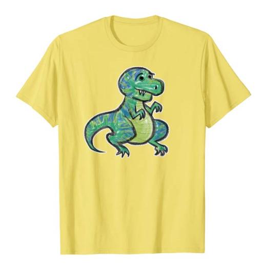 a green and blue cartoony t-rex