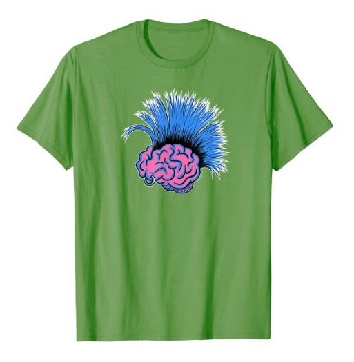 a cartoony pink brain with a blue mohawk and piercing
