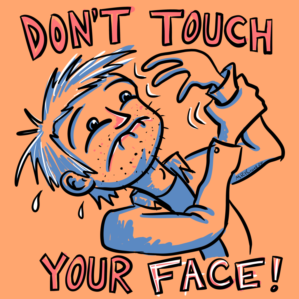 cartoon man struggles to not touch his own face