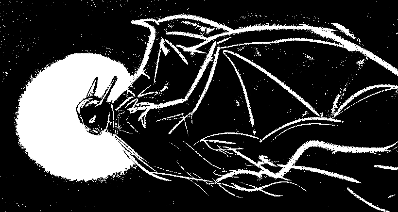 Vampire creature flying in front of full moon pencil sketch by M. R. Kessell