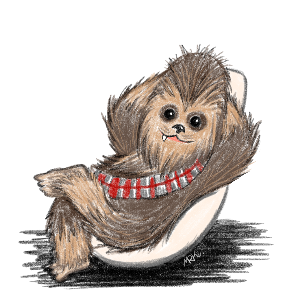 pencil drawing of a Cute Chewbacca leaning back in his chair