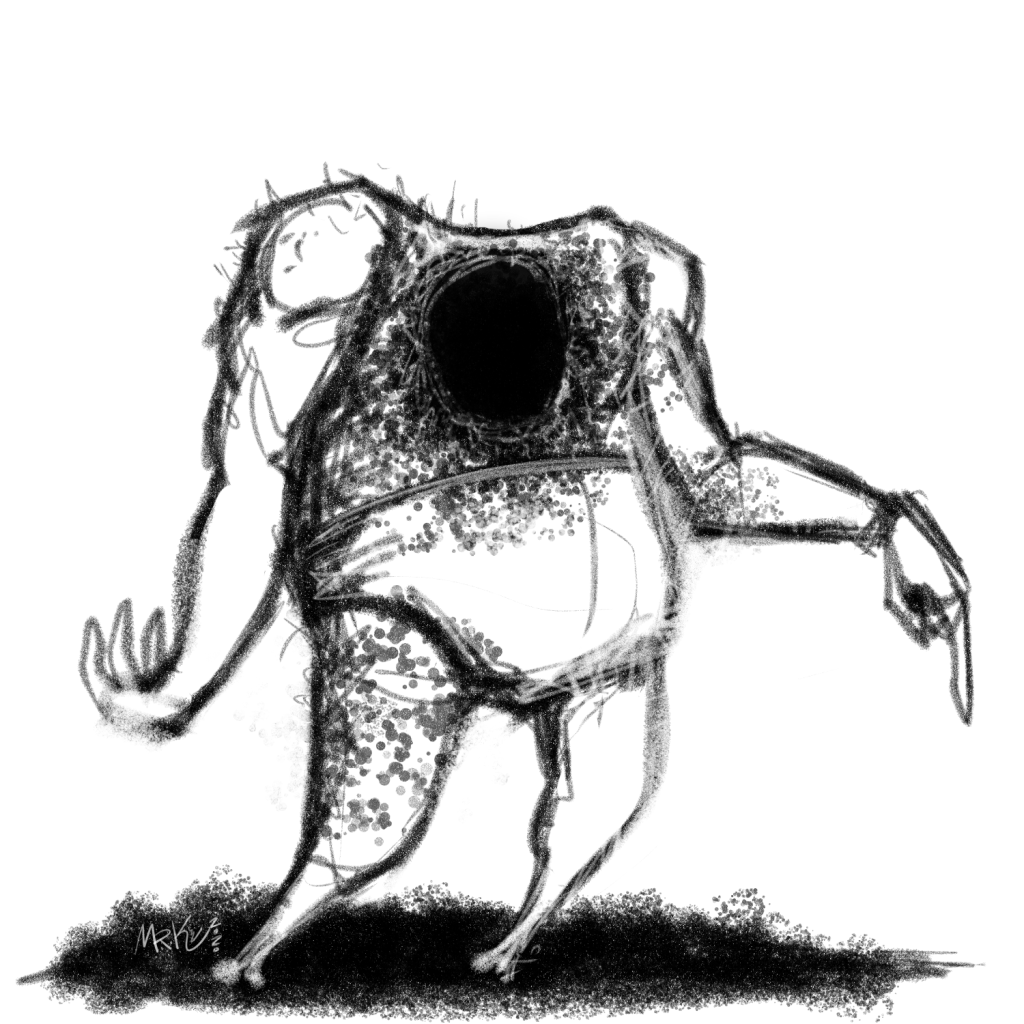 A maccabre pencil illustration of a man without a head but instead a large gritty, speckled black hole near the top of his torso.