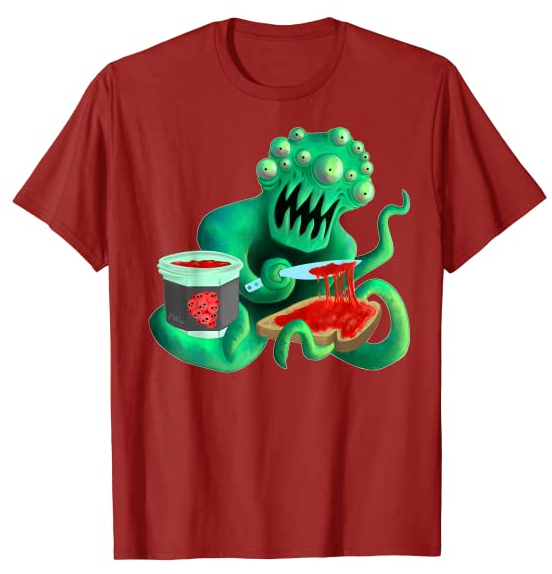 A green alien with many eyes and tentacles spreads a jelly made from humans on toast