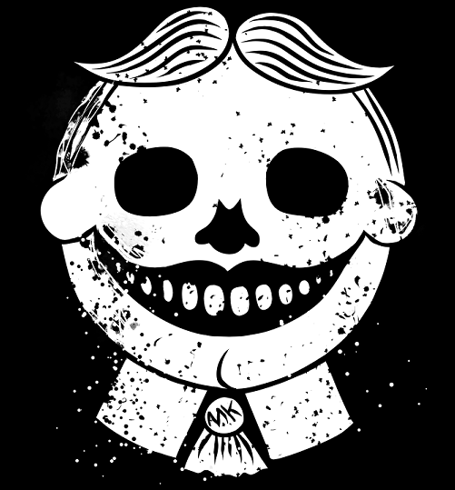 A grinning skull version of Tillie the iconic face from Asbury Park, NJ