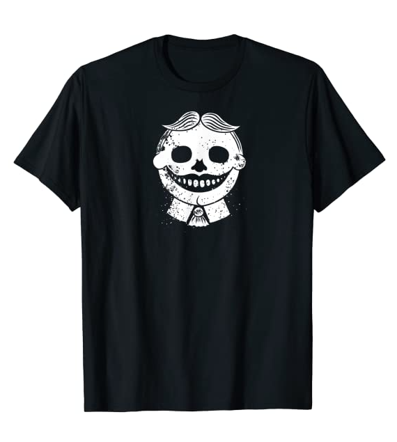 Asbury Park's Tillie as a skull on a tee shirt.
