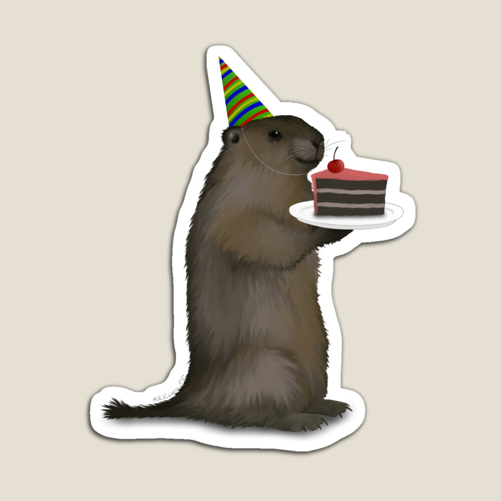 groundhog celebrating a birthday with a party hat and a piece of birthday cake
