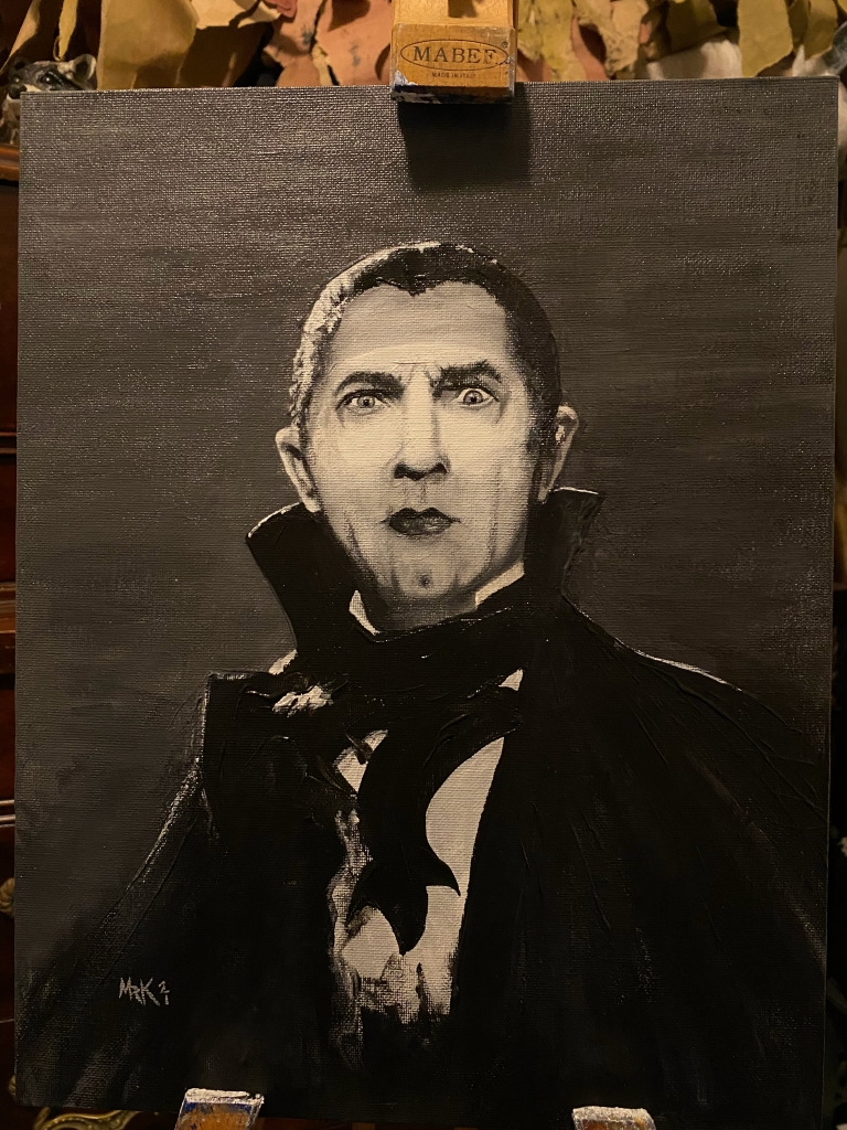 Portrait of Bela Lugosi, Acrylic on 11x14 Canvas Board by M. R. Kessell 2021